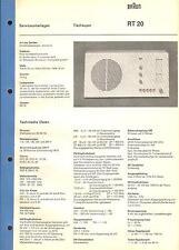 Braun Service Manual für RT 20 Tischsuper