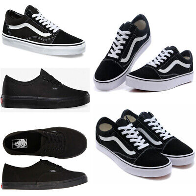 100/% New Old Skool Skate Shoes Classic Canvas Sneaker Black White Trainers UK