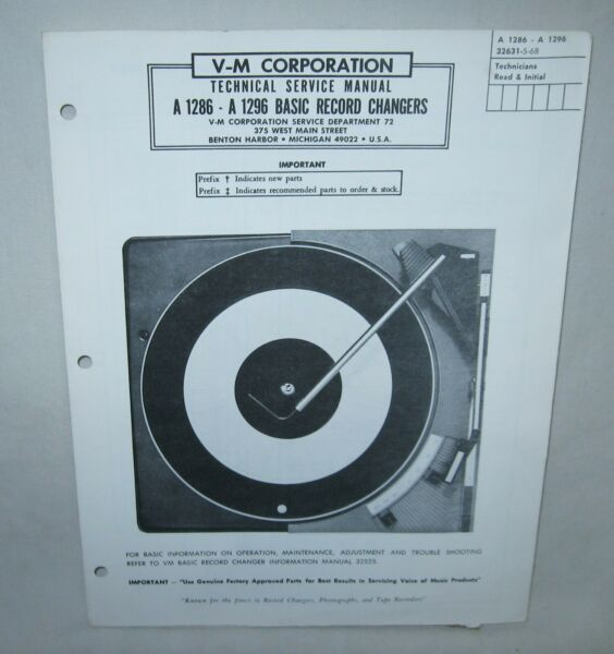 Voice Of Music A1286 - A1296 Turntable Service Manual Repair Record Player