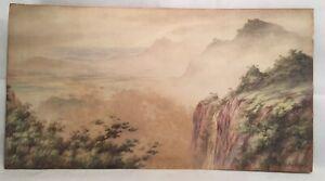 B-Leslie-Rogers-Painting-Vintage-Watercolour-Tree-Top-Views-Signed-Painting