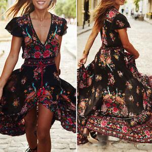 Plus-Size-Women-039-s-Boho-Casual-Summer-Beach-Party-Floral-Sundress-Long-Maxi-Dress