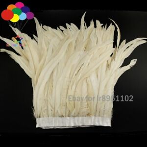 2-M-lait-blanc-Coq-Queue-plumes-Trim-Fringe-25-35cm-10-14-in-environ-35-56-cm-largeur-decor