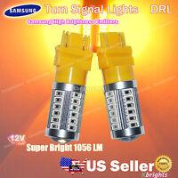 2pcs 3157 3156 Samsung High Power LED Projector Lens DRL Turn Signal Light Amber