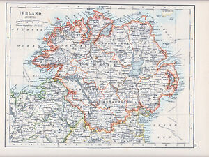 Donegal Map Of Ireland.1912 Map Ireland North Tyrone Donegal Londonderry Down Etc Ebay
