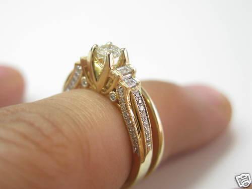 Fine Lady's Two Ring Diamond Wedding Royal Set 14KT Yellow gold