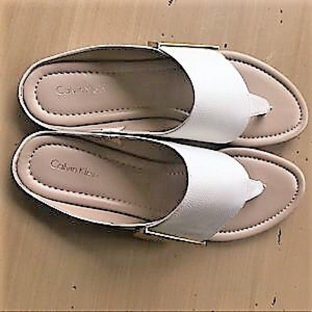 CALVIN KLEIN CK Behati 7.5 Sandale Weiß Tumbled Leder Flip Flop Summer Sandale 7.5 Slipper 4cf89c
