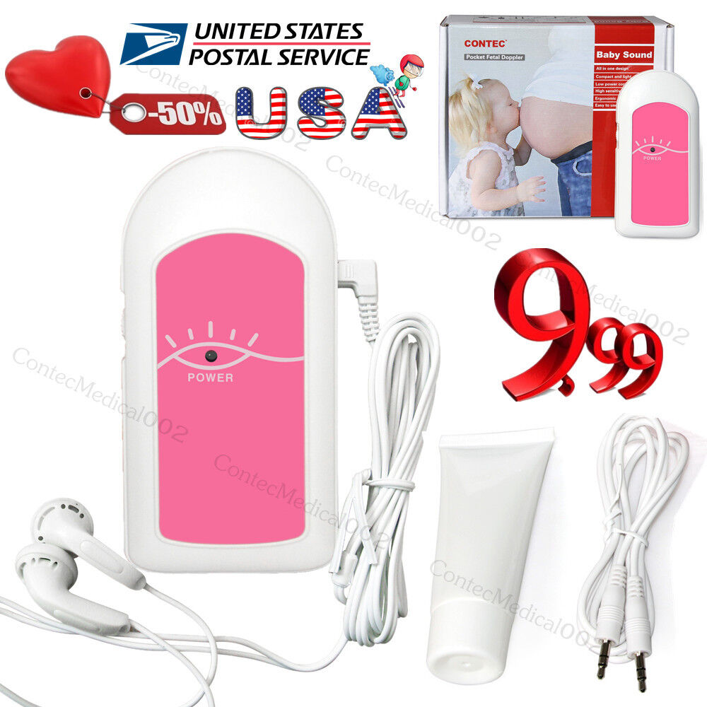 CONTEC Pocket Prenatal Heart monitor Fetal Doppler BABY Heartbeat GEL,us seller