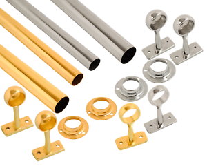 3 Lengths of Wardrobe Rail Chrome, Brass 2 - 8 Ft with Free End Sockets