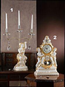 Candeliere A 3 Orologio Tavolo Ceramica Avorio Foglia Oro Cristalli Via Veneto Pour Assurer Des AnnéEs De Service Sans ProblèMe