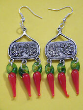 Mayan God Face Aztec Earrings Square RED CHILI Glass PEPPERS Silver Ear Wire NEW