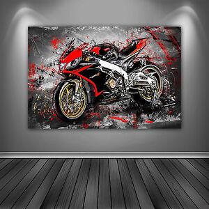 aprilia rsv4 leinwand bild motorrad deko wandbild poster xxl kunst ebay. Black Bedroom Furniture Sets. Home Design Ideas