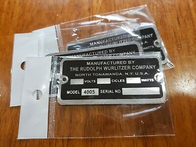 REPRODUCTION TAG FOR A WURLITZER JUKEBOX TYPE 4002 LIGHT-UP WALL SPEAKER