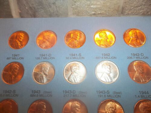 LINCOLN 1942 P D S  FULL MINT LUSTER BU  RED B.UNC PDS