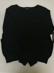 NWT-HARVE-BENARD-LADIES-039-LONG-SLEEVE-PULLOVER-KNIT-SWEATER-BLACK-LARGE