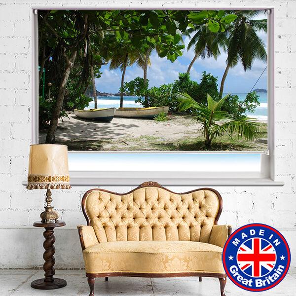 Barcos en el tropical Palm Beach Impreso Imagen persianas apagón remoto