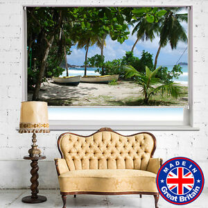 Tropical Beach Coastline Caribbean Printed Picture Roller Blinds Blackout Remote