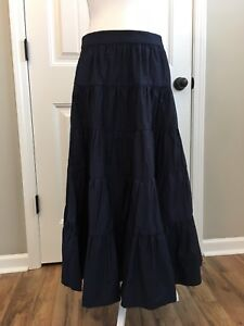 6165b4d50 New J Crew Tiered Midi Skirt in Cotton Poplin Navy Blue Sz 10 H7766 ...