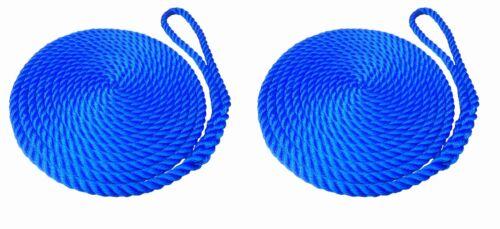 LINES BOATS WARPS 2 x 15 MTS OF 16MM ROYAL BLUE SOFTLINE MOORING ROPES