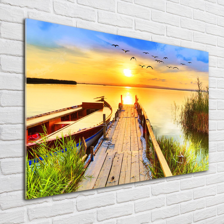Glas-Bild Wandbilder Druck auf Glas 100x70 Deko Landschaften Stiefel und Pier