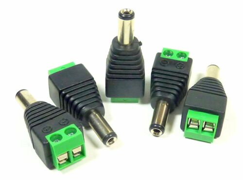5-Pk DC Male Power Plug 2.1mm To Solderless Terminals For CCTV Camera  12V-24V