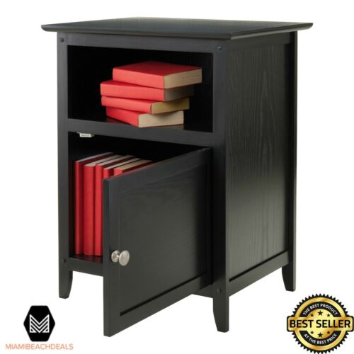 Wooden Night Stand End Table with Door and Shelf Black Finish Wood Bedroom NEW