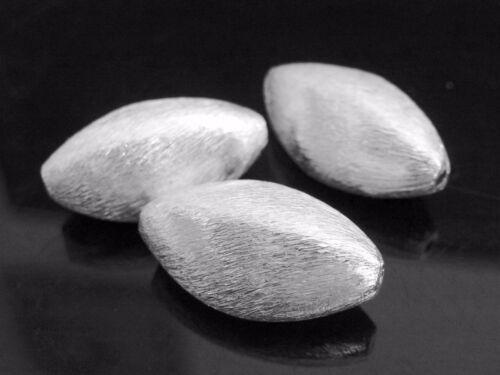 3 perles métal argenté ovales 20 mm brossé Perles Nenad-Design an450