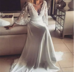 Bohemian Wedding Dress Backless Long Sleeve V Neck Illusion Lace Bridal Gown