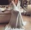 thumbnail 1 - Bohemian Wedding Dress Backless Long Sleeve V Neck Illusion Lace Bridal Gown