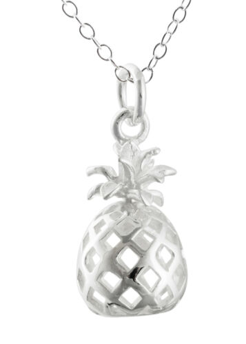 3D Pineapple Necklace Pendant Vacation Pineapples Hawaii 925 Sterling Silver