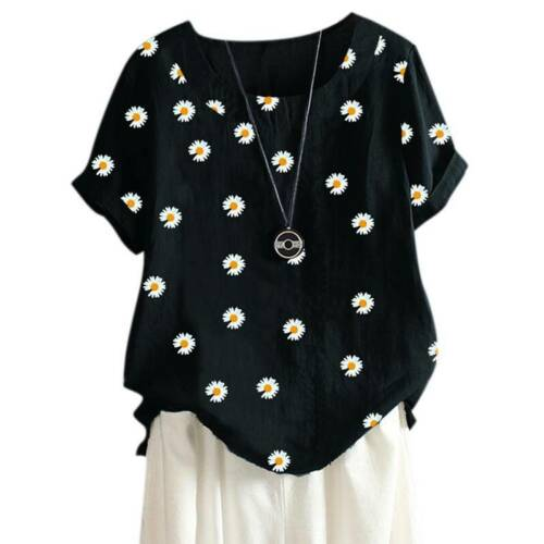 Plus Size Women Short Sleeve T Shirt Loose Blouse Tunic Casual Baggy Summer Top