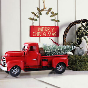 Vintage-Christmas-Red-Metal-Truck-with-Movable-Wheel-Kids-Gift-Table-Top-Decor