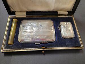 Art Deco Period Cigarette & Vesta Case In Original Presentation Box