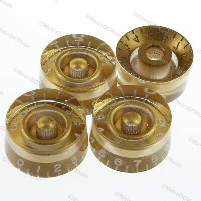 4-Pack Gold Bell Knobs 0-11 Vintage Style Embossed Numbers for Gibson USA Models