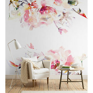 Details About Spring Floral Removable Wallpaper Watercolor Wall Mural Peel And Stick