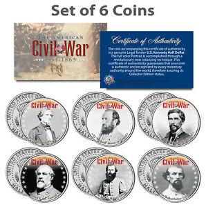 American-CIVIL-WAR-South-CONFEDERATE-LEADERS-Kennedy-JFK-Half-Dollars-6-Coin-Set