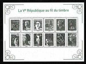 Bloc-Feuillet-2013-N-F4781-La-5eme-Republique-au-fil-du-Timbre-Cote-36-00
