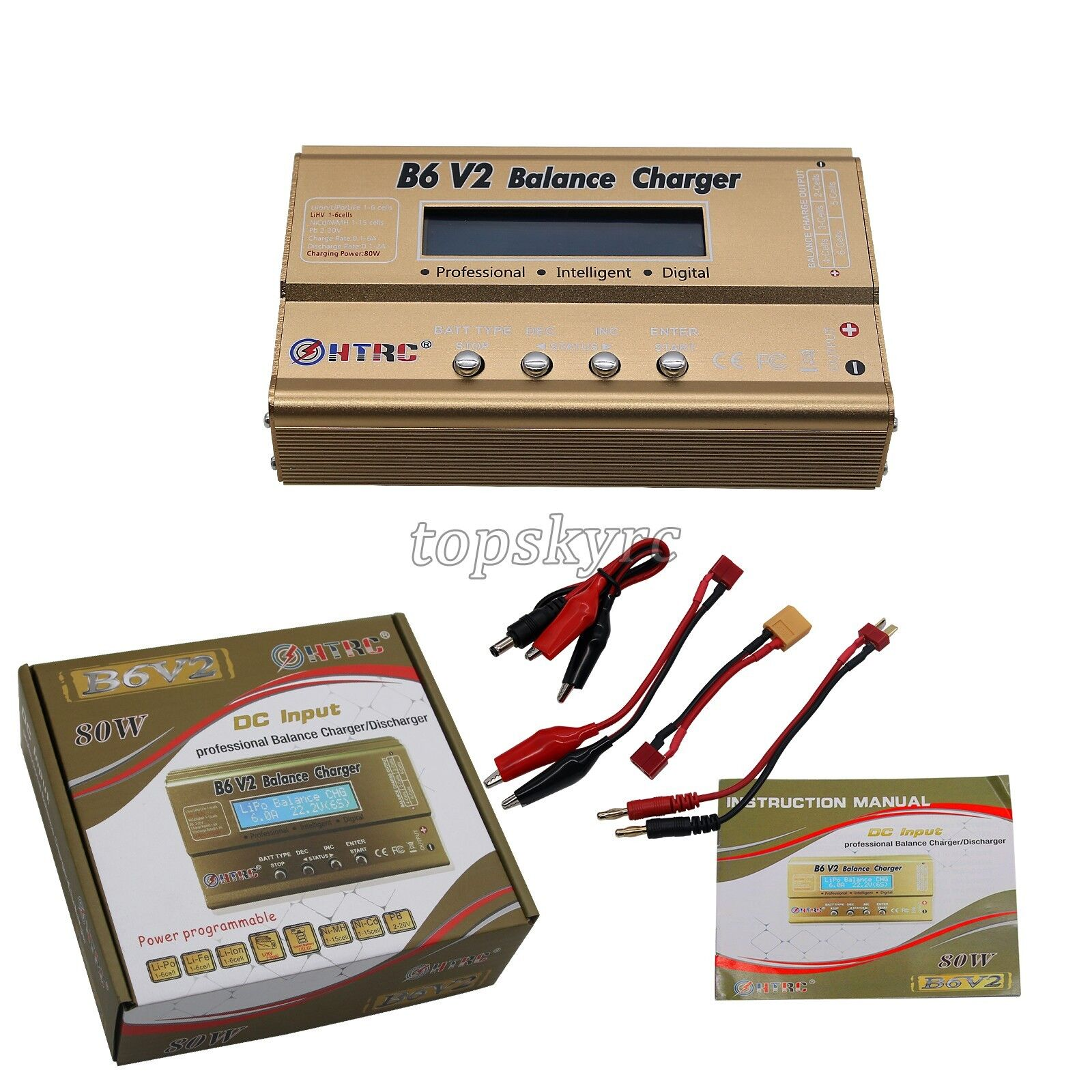 HTRC B6V2 RC Battery Balance Charger Car Helicopter Balance Lipo NIMH Charger