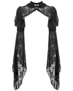 Details about Dark In Love Gothic Bolero Shrug Top Black Lace Velvet Steampunk Victorian Witch