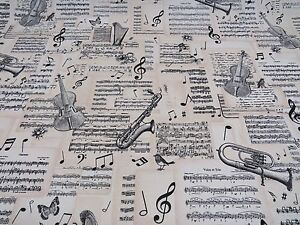 DIGITAL-Designer-Musical-Notes-Cotton-Curtain-Fabric-Upholstery-Craft-MUSIC