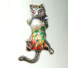 #P432 Pendentif Broche Chat Argent Massif 925 Perle Rubis & Email