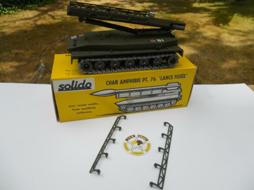 VEHICULE MILITAIRE SOLIDO REPRO GUIDES LATERAUX RAMPE CHAR PT76 LANCE FUSEE 2