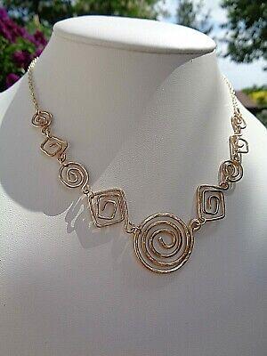 Halskette, Gold 585, Spiral-elemente,hammerschlag-optik, Designer-stück