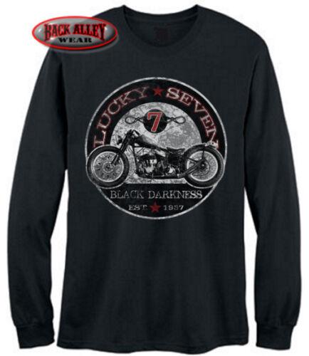 LUCKY 7 BLACK DARKNESS LONG SLEEVE T-Shirt Biker Tee ~ Hard Tail Chopper 1937