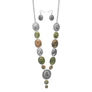 TRI-COLOR-SILVER-BRASS-ROSE-GOLD-TURQUOISE-CONCHO-NECKLACE-WESTERN-SOUTHWEST-SET