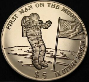 Liberia $5.00, 2000 Proof~Lady Liberty~Free Shipping