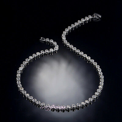 16'' Cubic Zirconia Crystal Choker Tennis Necklace wedding jewelry Xmas gift