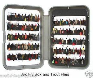 Truites-Mouches-Gris-Fly-Box-pour-peche-a-la-mouche-Crochets-10-12-14