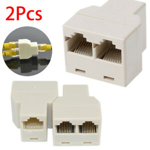 RJ45 Splitter Adapter 1 to 2 Way Dual Female Ports CAT5 CAT 6 LAN Ethernet Cable