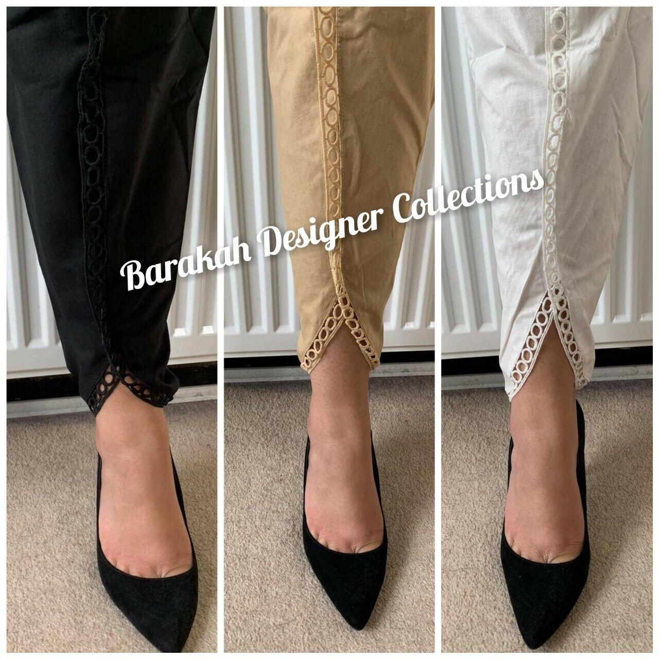 NEW LADIES PAKISTANI COTTON FANCY TULIP SHALWAR TROUSERS PANTS BLACK WHITE S M L