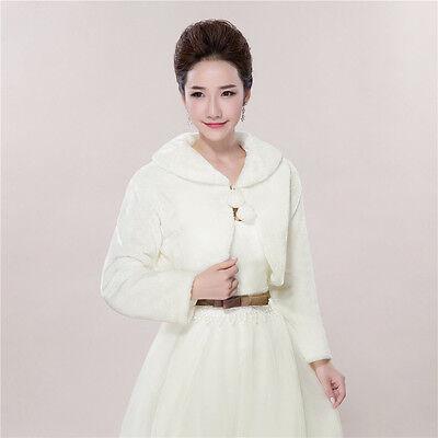 White Wedding Bridal Shawls Faux Fur Shrug Bolero Jacket Wrap Shawls Winter Coat